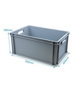 Heavy Duty Plastic Box With Open Handles L600 X W400 X H280MM