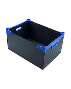 Ridged Fluted Plastic Box Black