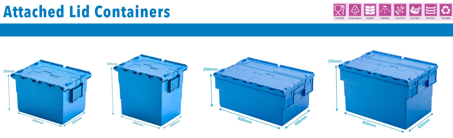 Blue Attached Lid Containers