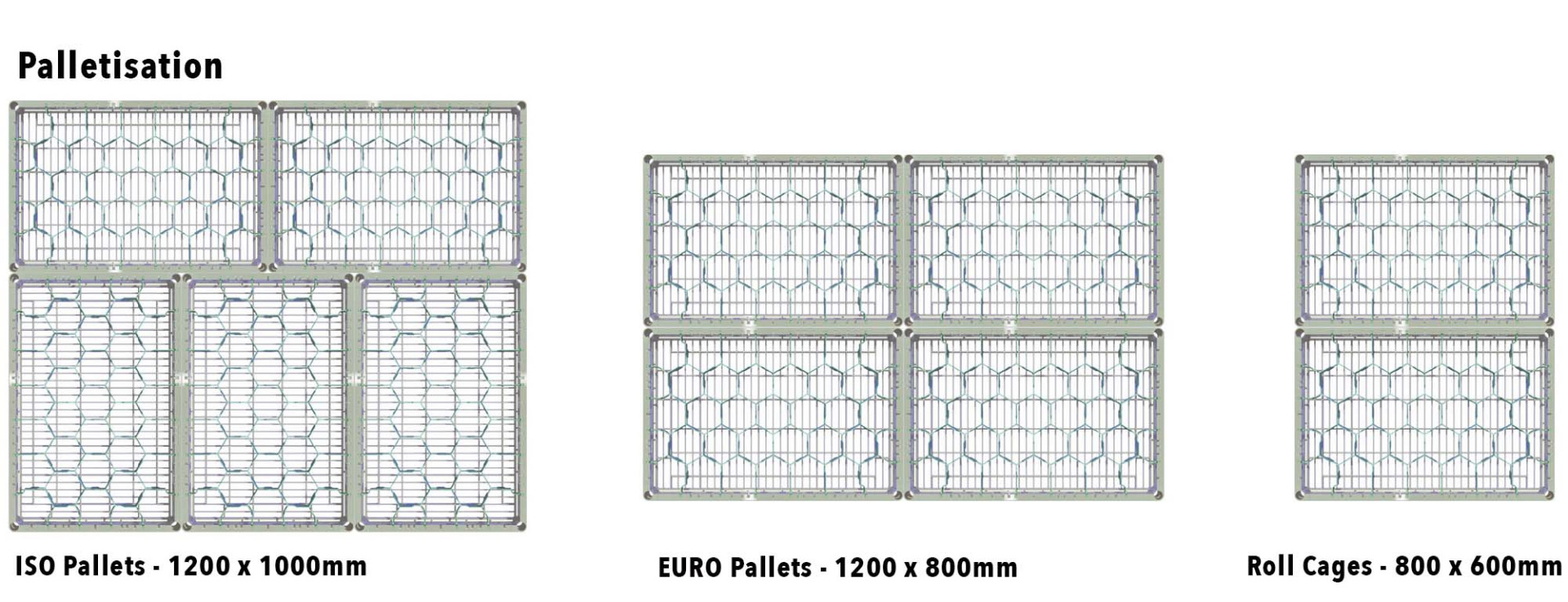 roll cages, UK and Euro Standard pallets.